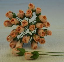 6mm PEACH ROSE BUDS (L) Mulberry Paper Flowers